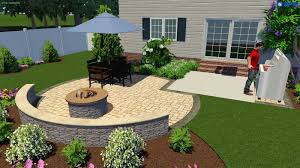 patio with retaining wall and fire pit archives bcls landscape