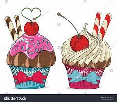 Cherry Cupcake Invitation Card Royalty Cherry Cupcake Stock Vector 363079574 Shutterstock