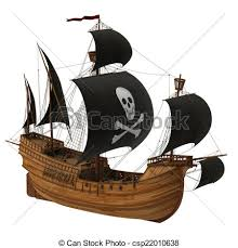 drawings of pirate ship old ship with black sails 3d model