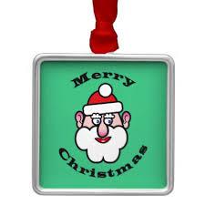 merry santa claus metal ornament
