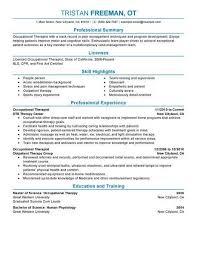 proper resume format 2017 occupational health best occupational therapist resume exle livecareer