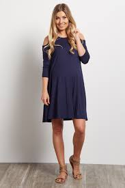 cold shoulder dress navy blue cold shoulder tunic dress