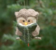 needle felted owl ornament reading
