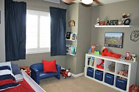 Toddler Platform Bed Toddler Room Ideas For Boy And Girl Blue Painted Wall Feat Cream