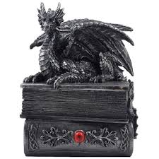 mythical guardian dragon trinket box statue with hidden book