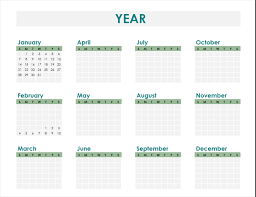 any year expense calendar office templates