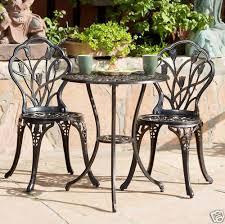 Copper Patio Table Outdoor Patio Furniture Tulip Design Cast Aluminum Bistro Set In