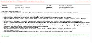 Sample Resume For Assembly Line Operator by Warehouse Assembly Line Worker Cv Work Experience Samples