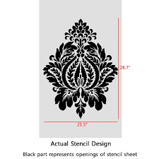 damask stencil norah large size wall stencils template for diy