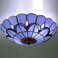 Stained Glass Ceiling Light Two Light 12 Inch Flush Mount Ceiling Light In Stained