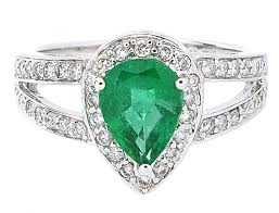 gem gold rings images Pear shape emerald diamond ring in 18k white gold 1 46 ct total jpg
