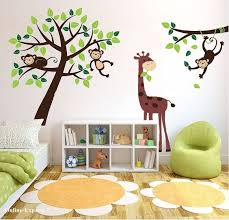 Monkey Decor For Nursery Hanging Monkey Childrens Bedroom Wall Branches Jungle Nursery
