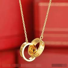 cartier yellow gold necklace images Cartier love necklace in 18k yellow gold with two rings with 3 jpg