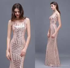 2018 special design rose gold sequins evening dresses v neck floor