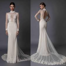 wedding dress high neck berta mermaid sleeve wedding dresses lace applique high neck