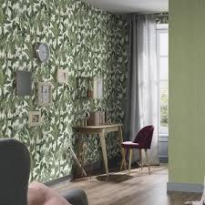 green wallpaper room erismann paradiso tropical leaves pattern wallpaper jungle leaf