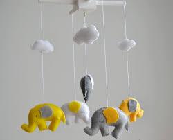 grey and yellow elephants baby mobile crib thememis