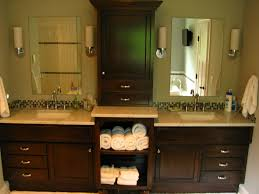 double vanity with linen cabinet for double sink vanity with two