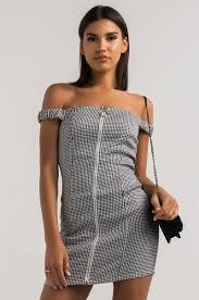 akira off shoulder short sleeve zip front herringbone bodycon mini