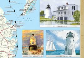 Michigan Lighthouse Map by Mid Atlantic Lighthouses Illustrated Map U0026 Guide Bella Stander