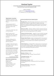 Assistant Preschool Teacher Resume Sample Teaching Resumes For Preschool Preschool Teacher Resume