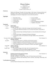 sample cover letter resume massage therapy