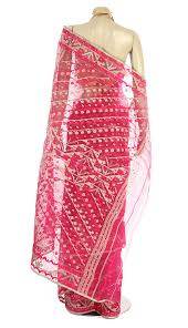 arong saree exclusive fuchsia half silk jamdani saree saree women