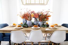 blue and orange thanksgiving tablescape classy clutter