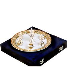 silver gift items india marble pooja thali with silver utensils marble pooja thali