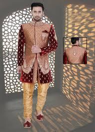maroon and gold wedding and gold velvet s designer wedding wear sherwani