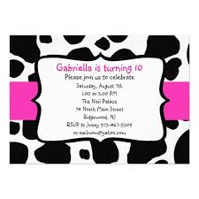 cow print ribbon personalized black and white birthday invitations