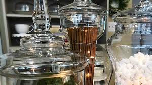how to decorate using apothecary jars by adding vase fillers