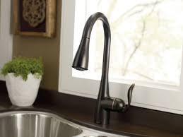 moen kitchen faucets rubbed bronze moen 7594orb arbor single handle high arc pulldown kitchen faucet