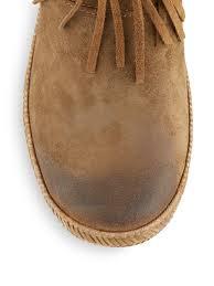 ugg s zip boots ugg shenandoah fringe suede ankle boots in green lyst