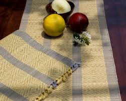 Table Place Mats Madur Kathi Natural Fibre Yellow Grey Placemats Table Runner