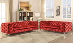 Red Velvet Sofa Set Modern Red Velvet Living Room