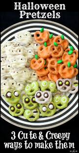 Vegetarian Halloween Appetizers 24 Cute Halloween Snacks Halloween Pretzels Pretzels And Butter