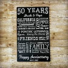50 anniversary gift 50th anniversary gift for parents 50 year anniversary signs with