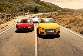 porsche cayman silver audi tts vs alfa romeo 4c vs porsche cayman gts triple test review