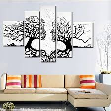 Online Store Home Decor 100 Hand Made Promotion Black White Tree Canvas Painting Abstract