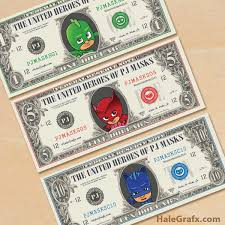 printable pj masks play money