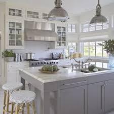 Gray Kitchen Island White U0026 Marble Kitchen With Grey Island House U0026 Home Pinterest