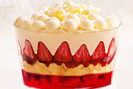 white chocolate snowball and strawberry trifle