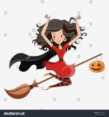 flying witch halloween witch halloween witch little witch flying stock illustration