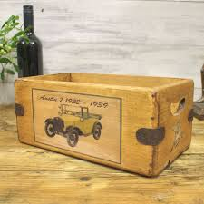 7 vintage box rustic wooden storage crate classic car small
