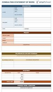 statement of work template u2013 8 free word excel pdf u2013 template section