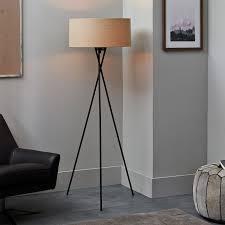 mid century tripod floor lamp antique brass west elm