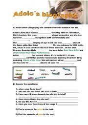 adele biography english english worksheets adele s biography