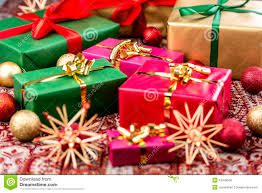 presents with bows baubles and stock photo image