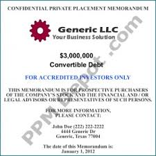 llc convertible debt 506 b ppm template accredited investors only